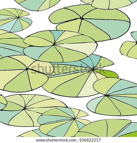 seamless pattern with leaves on the water
