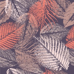 Seamless pattern with leaves prints.