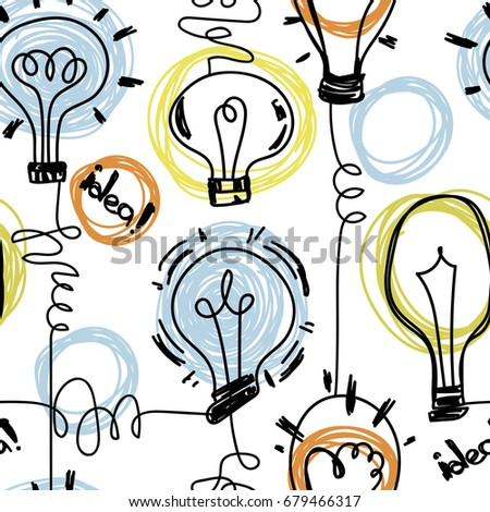 seamless pattern with lightbulbs on white background, background for creativity and good ideas, vector illustration in sketch style