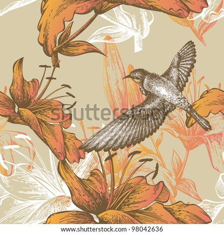 Seamless pattern with lilies and a flying bird, hand-drawing. Vector.