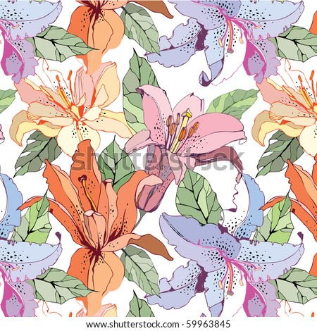 seamless pattern with lily - stock vector