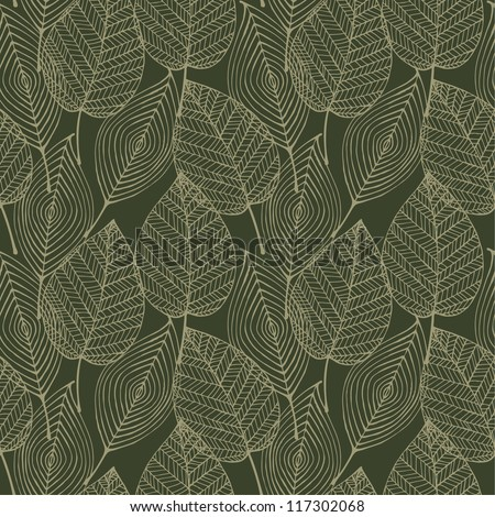 Seamless pattern with linear decorative lace leaves. Texture for design and decoration textile, web page backgrounds, bags, wrapping paper, covers