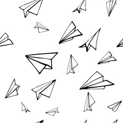 Seamless pattern with linear paper planes. Hand drawn background. Adult coloring book.