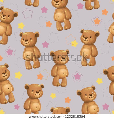 stock-vector-seamless-pattern-with-little-cute-cartoon-stuffed-bear-toys-and-stars-on-the-grey-background