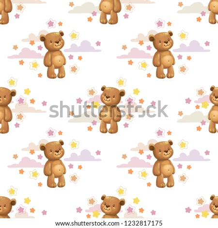 stock-vector-seamless-pattern-with-little-cute-cartoon-stuffed-bear-toys-and-stars-vector-childish-texture