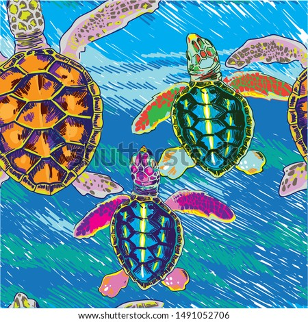 Seamless pattern with little sea turtles. Turtles crawl to the water. Multi-colored print.