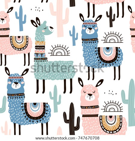 Seamless pattern with llama, cactus and hand drawn elements. Creative childish texture. Great for fabric, textile Vector Illustration