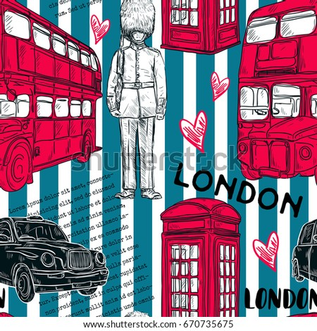Seamless pattern with London landmark symbols on striped background. Vintage hand drawn vector illustration in sketch style.