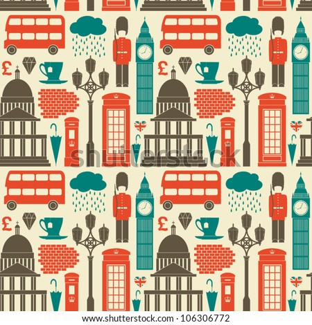 Seamless pattern with London symbols and landmarks.