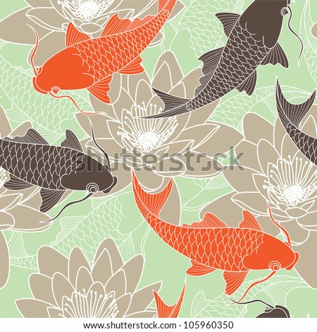 seamless pattern with lotus and carps