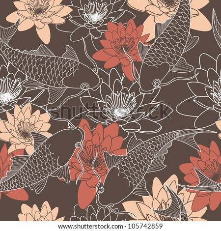 seamless pattern with lotus and chinese carps