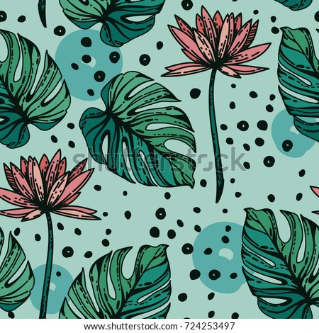 stock-vector-seamless-pattern-with-lotus-flowers-monstera-leves-and-hand-drawn-dots-green-and-tender-pink