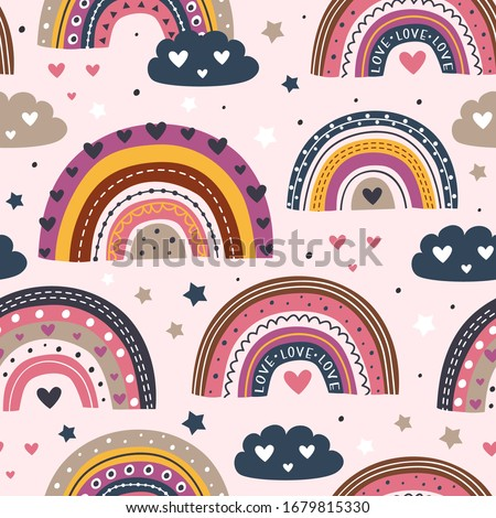 seamless pattern with love rainbows on pink background   - vector illustration, eps