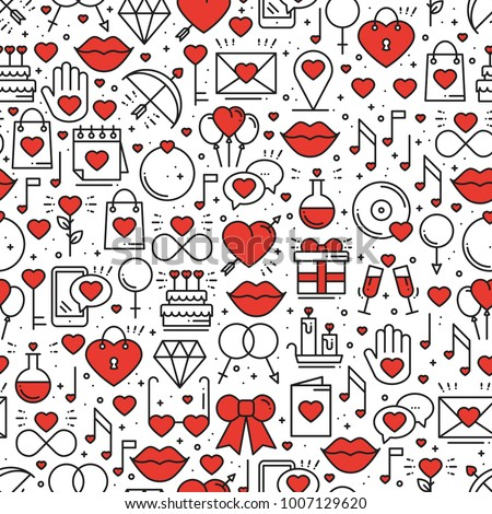 Seamless pattern with love symbols in line style. Valentines day. Love heart couple relationship dating wedding romantic amour theme. Vector illustration. Background