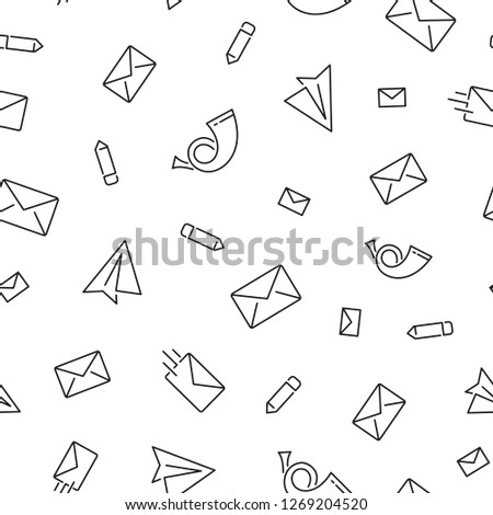 Seamless pattern with mail. Black and white thin line icons