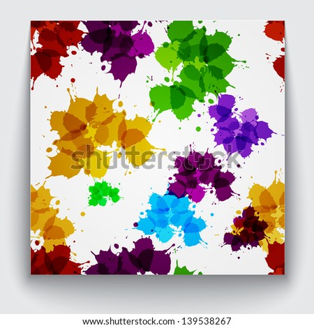 Seamless pattern with many colored ink blobs (splashes).