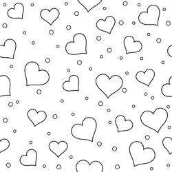 Seamless Pattern With Many Outline Hearts. Black and White Isolated Elements. Romantic Endless Texture. For Vector Illustration About Love. Wedding Design. Valentine's Day Background.
