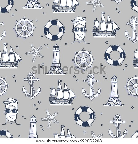 seamless pattern with marine
