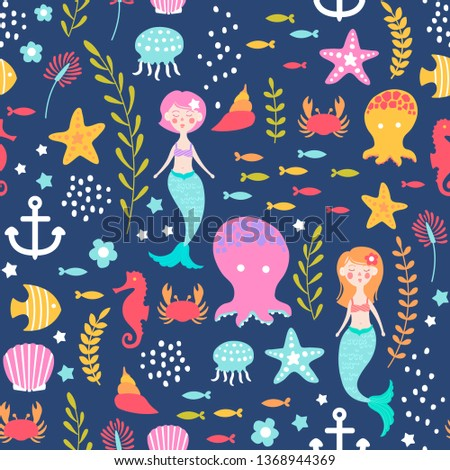 seamless pattern with marine ornament