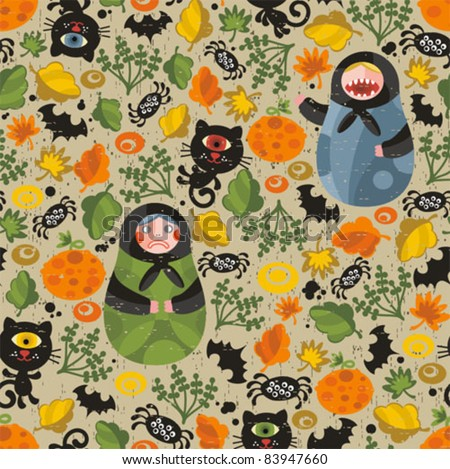 seamless pattern with matreshka