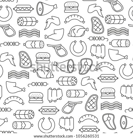 seamless pattern with meat icons