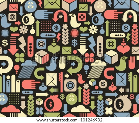 Seamless pattern with media icons. Vector texture.