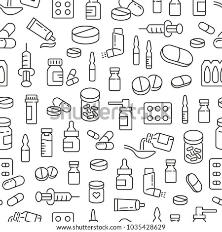 Seamless pattern with medicine drugs pills. Black and white thin line icons