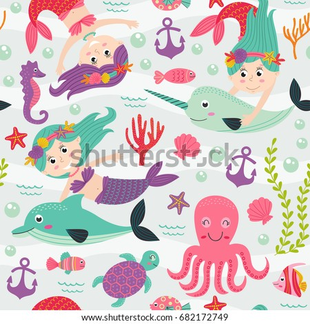 seamless pattern with mermaid and marine animals  -  vector illustration, eps