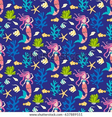 Seamless pattern with mermaid. Vector background nice underwater with fish, plant, sea shell, coral leaf, starfish, anemone and banner fish. Whimsical pattern kids style for fabric, wallpapers...