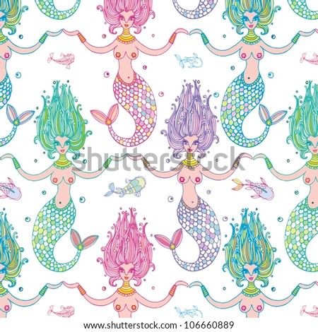 seamless pattern with mermaids and fish