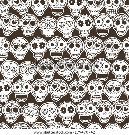 Seamless pattern with mexican skulls, flowers and hearts.