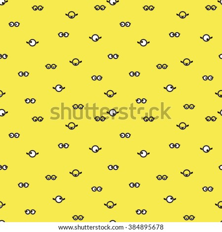 Seamless pattern with minion. Vector for packaging, clothing, T-shirts. Two eyes glasses or goggles. Cartoo, sight design, pop-eyed funny. Vector illustration