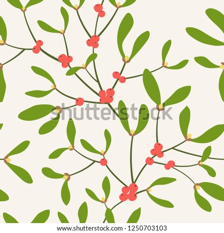 Seamless pattern with mistletoe branches. Vector illustration