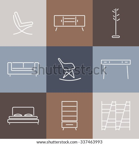 Seamless Pattern With Modern Furniture Template For Design