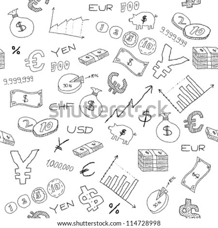 Seamless pattern with money, business and financial icon sand symbols. Business background doodle.