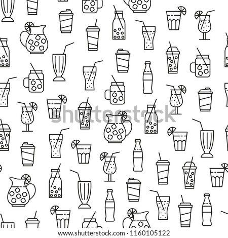 seamless pattern with monochrome beverages icons