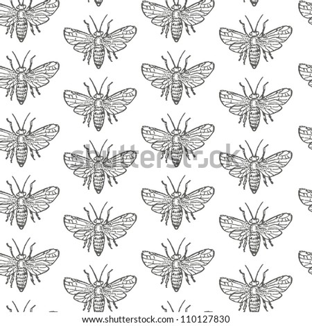 Seamless pattern with monochrome fly