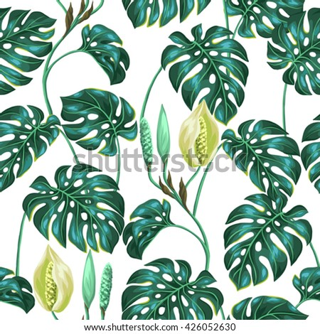 seamless pattern with monstera