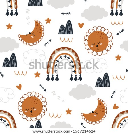 seamless pattern with moon sun rainbow on white background - vector illustration, eps
