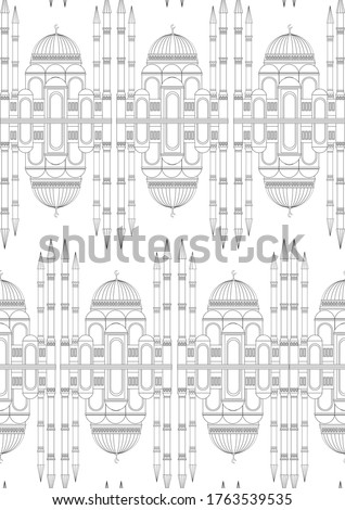 Seamless pattern with mosque or islamic temple as anti stress coloring book for adults. Outline or linear stock vector illustration with colorless architecture or mosque in A4 format Сток-фото ©