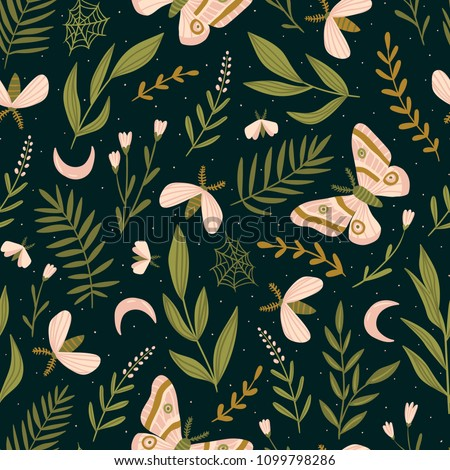seamless pattern with moths and
