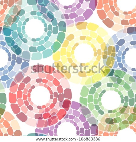 Seamless pattern with multicolor circle tiles on white