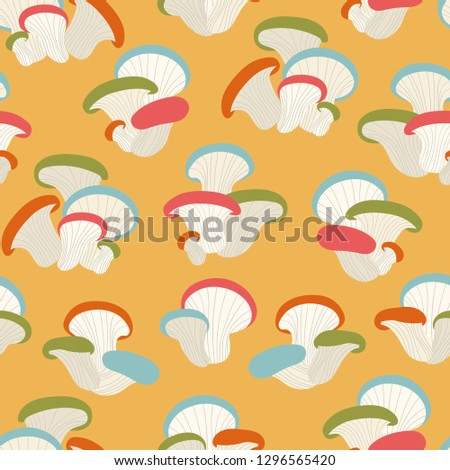 Seamless pattern with mushrooms ornament. Colorful hand-drawn mushrooms on yellow background