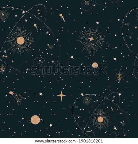 Seamless pattern with Mystical and Astrology elements, Space objects, planet, constellation, moon, stars, sun. Editable vector illustration.