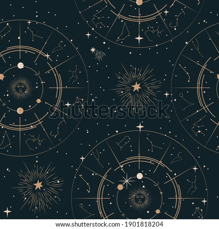 Seamless pattern with Mystical and Astrology elements, Space objects, planet, constellation, zodiac sings. Editable vector illustration.
