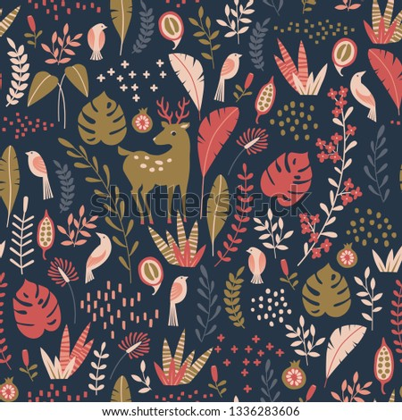 seamless pattern with nature ornament. Leaves, flowers, birds and deer on dark background