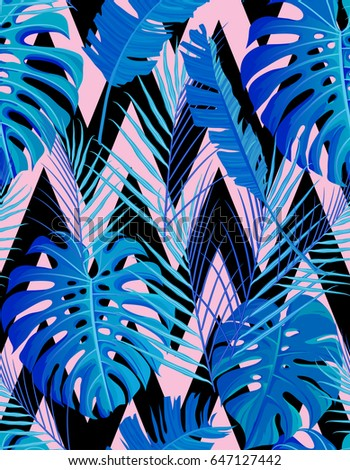 Seamless pattern with neon colored tropical exotic palm leaves on abstract zigzag pink blue style background. Fabric, wrapping paper print. Vector illustration stock vector. #647127442