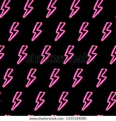 Seamless pattern with neon icons of pink lightning bolts on dark background. Vector 10 EPS illustration.