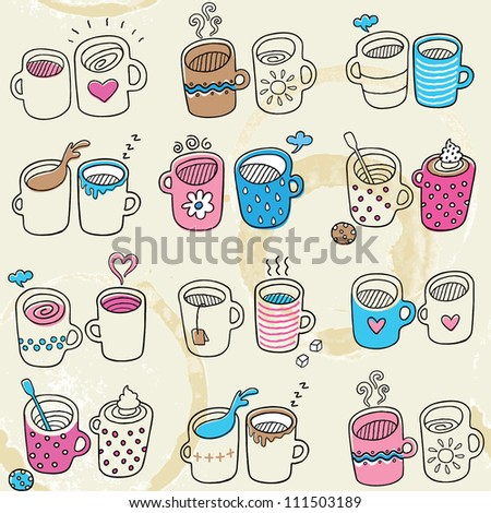 Seamless pattern with nice tea and coffee cups - stock vector