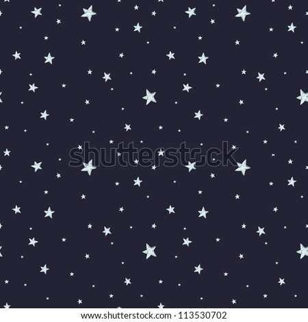 Seamless pattern with night sky and stars. Vector background.
